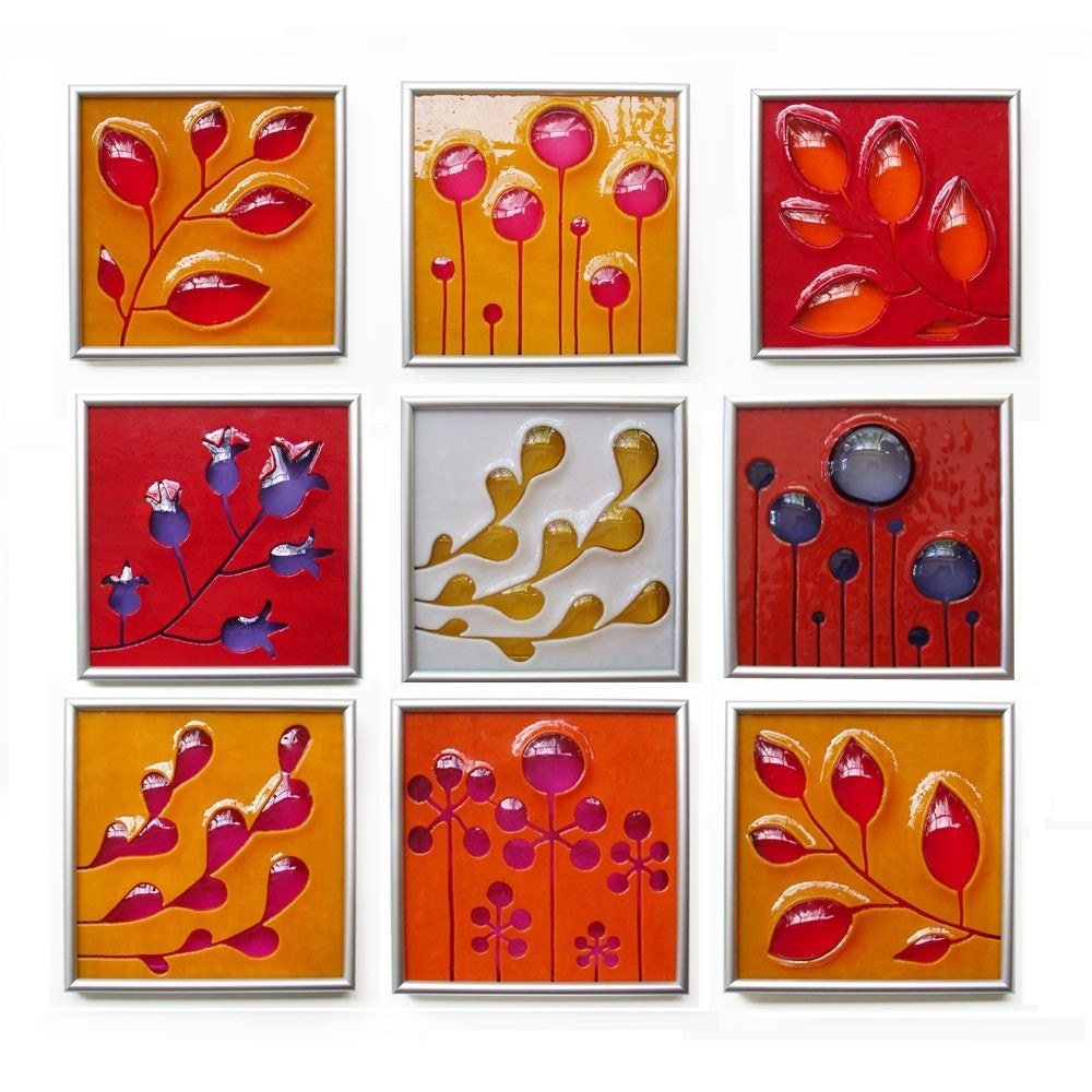 One Custom Hand Carved and Fused Glass Art Tile