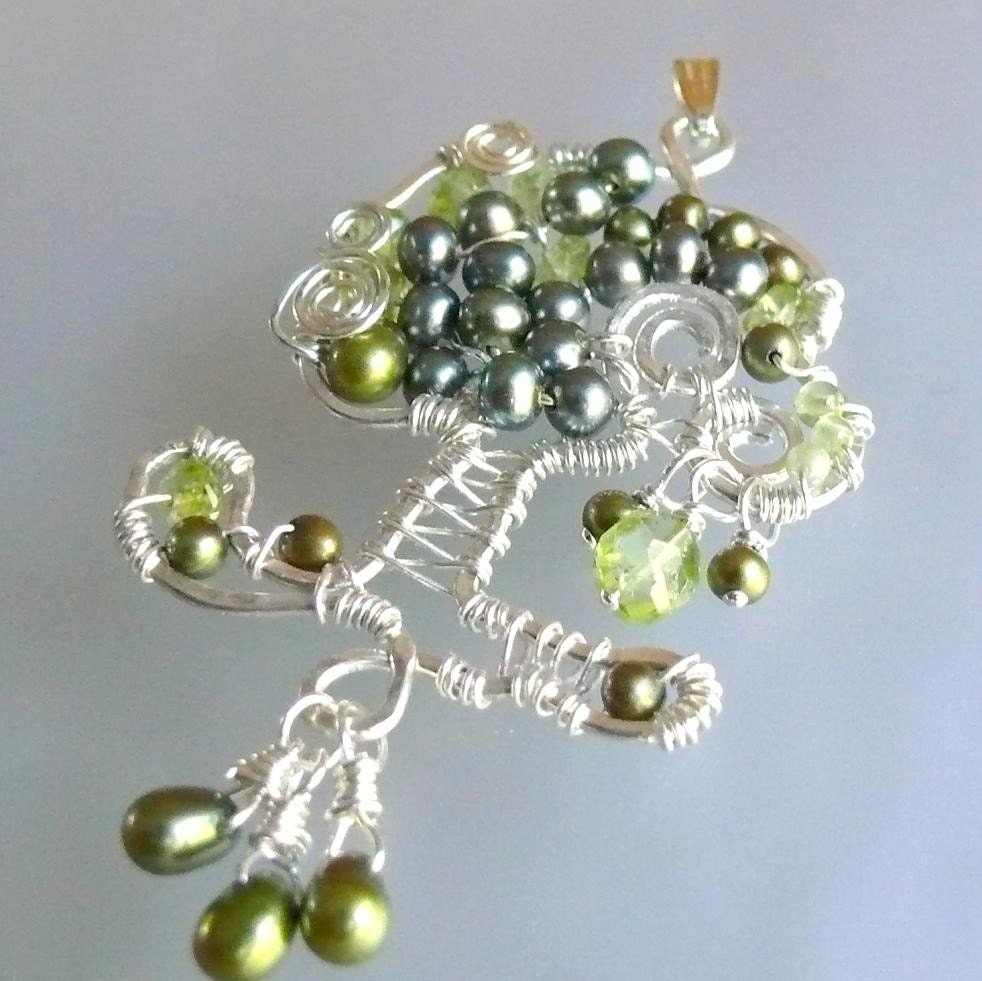 Tree of Life, Olive Tree, OOAK sterling silver peridot and pearl pendant.