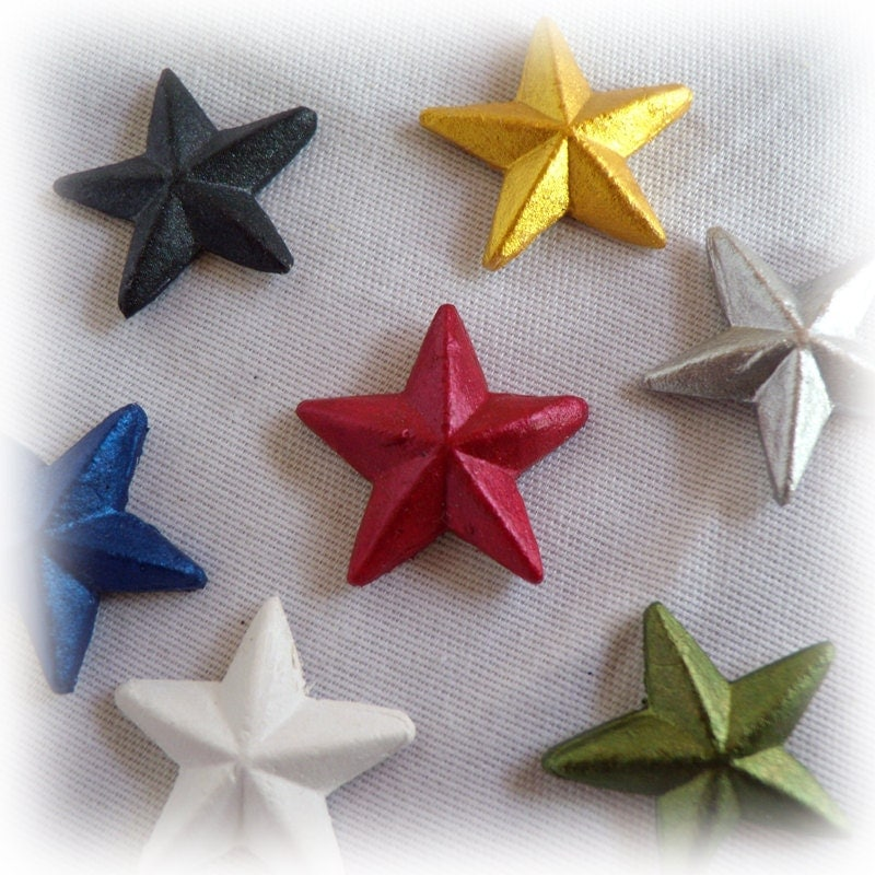 Sparkling 3D Star Embellishments Set of 5 (You pick the colors)