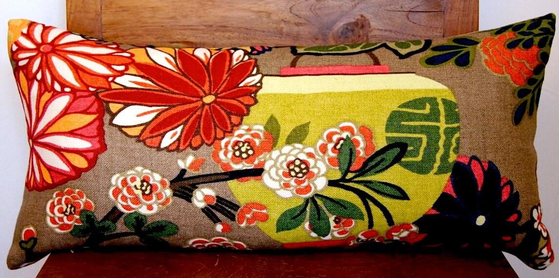 Pillow Chiang Mai Dragon F.Schumacher Designer Mocha Lumbar Size 11x 23 Cover