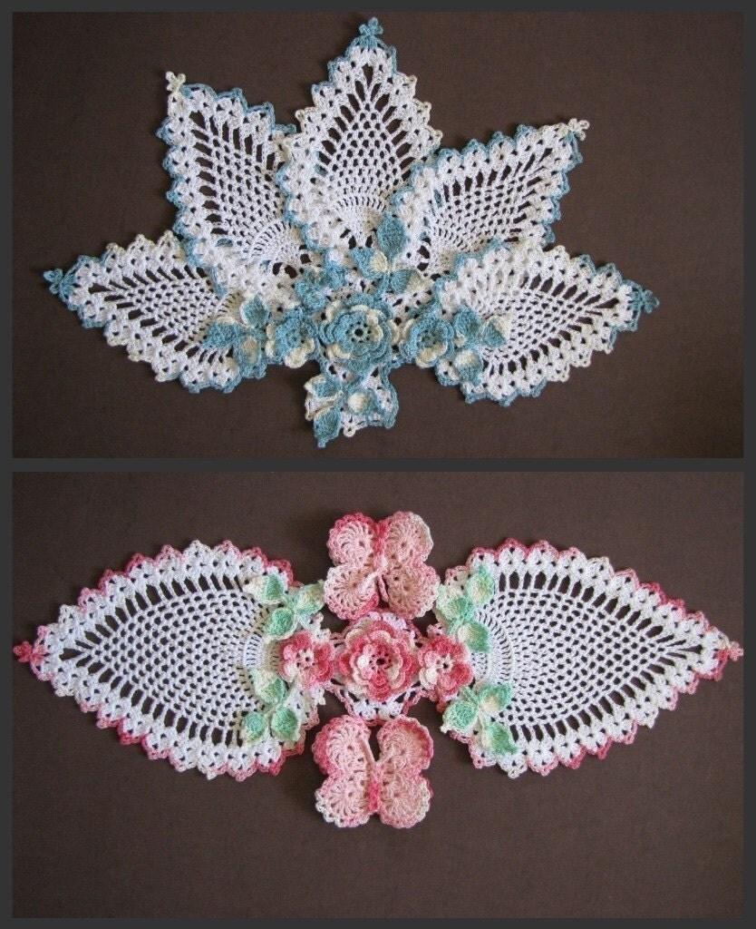 Butterflies and Roses Pineapple Doilies Crochet PDF Pattern Set