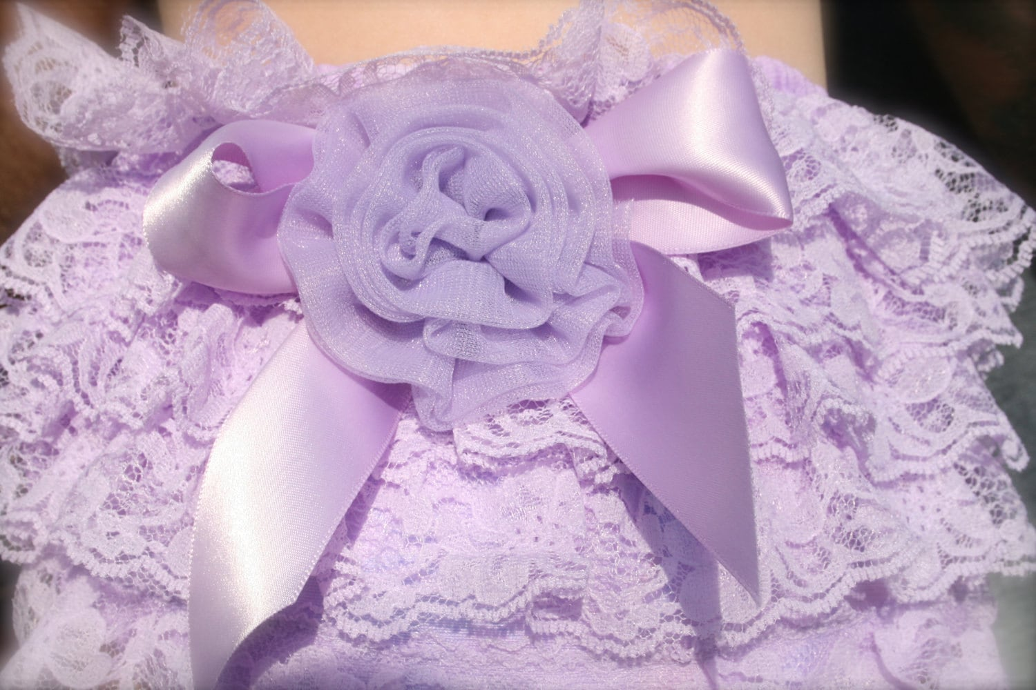Lace Diaper Cover or Lavender Lace Panties with Bow and Chiffon Rosette