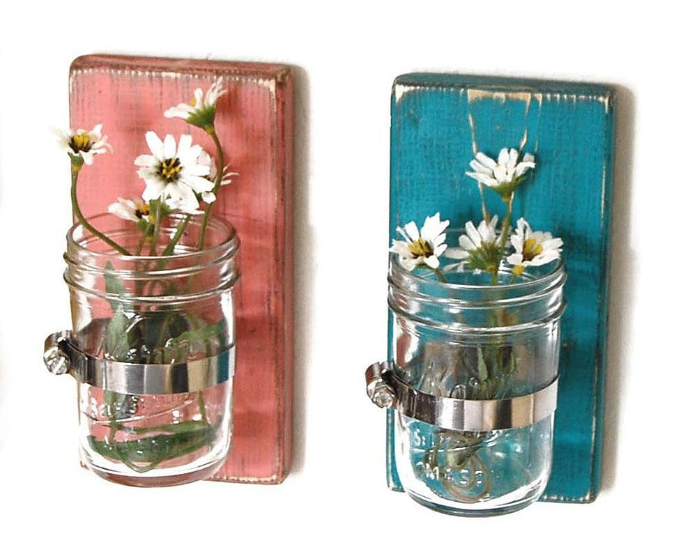 wood sconce mason jar wall vase french country by OldNewAgain
