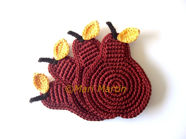 Cinnamon Pear Crochet Coasters . Autumn Leaves Beverage Drink Juice Healthy Vegan Cup Decor Crochet Fruit - Set of 4 - Made to order - MariMartin