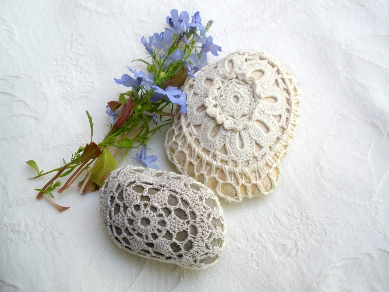 Crochet Two Nature decorated river pebble Stones, covered with vintage lace flower motif, hand made, mintook..