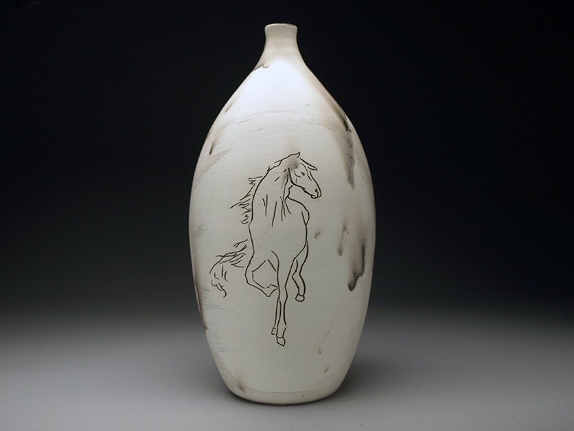 Carved Horse Hair Bottle