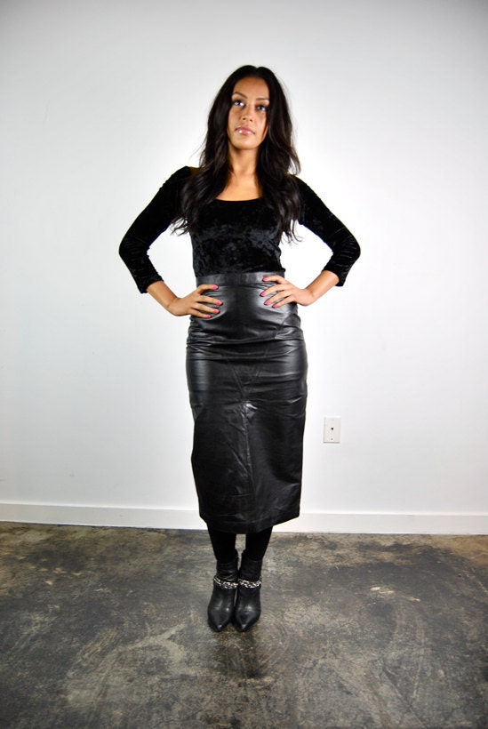 vintage skirt, 1980's long black leather skirt, high waisted, pencil cut, small - youngandukraine