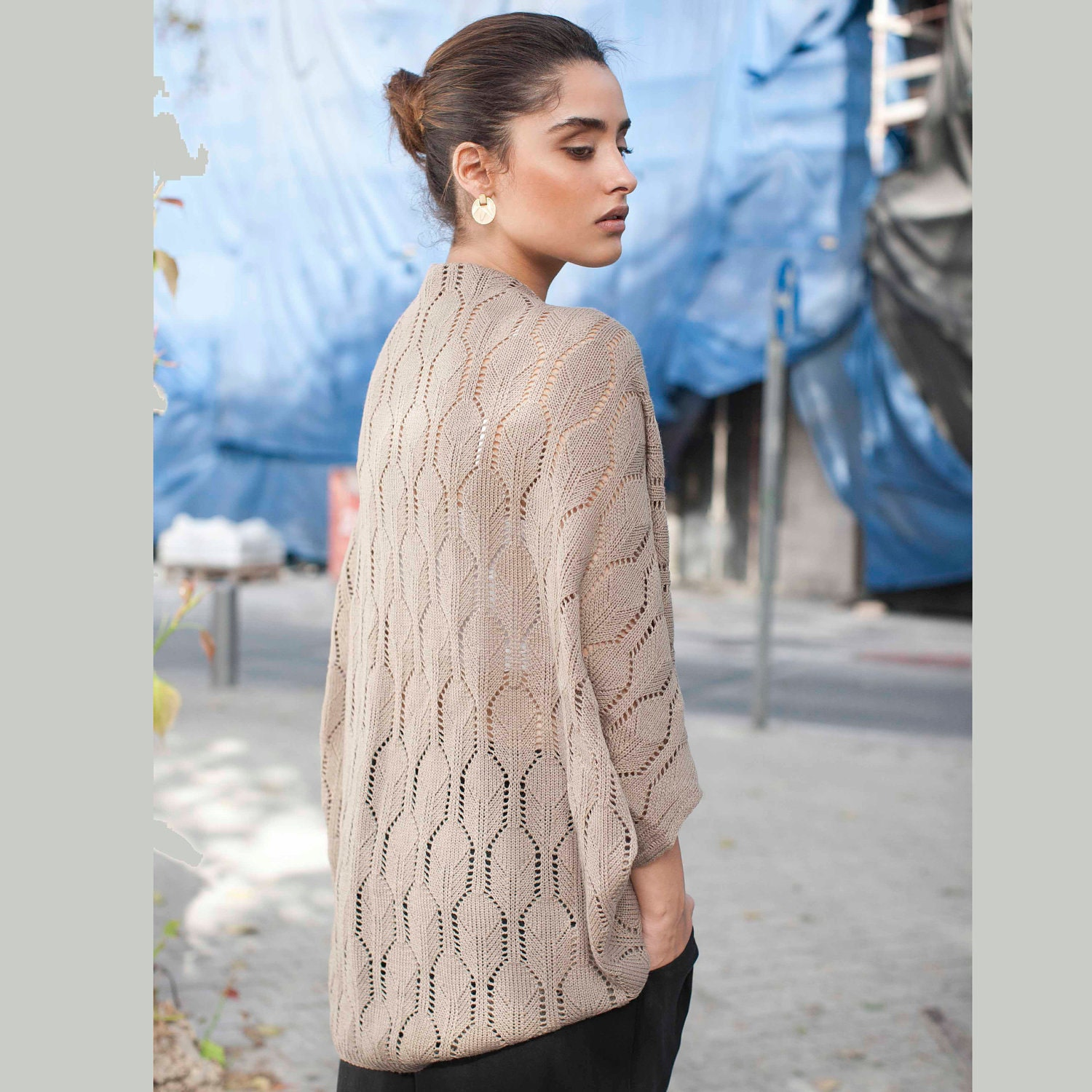 Women winter brown knitted lace cardigan, ready to ship - AndyVeEirn
