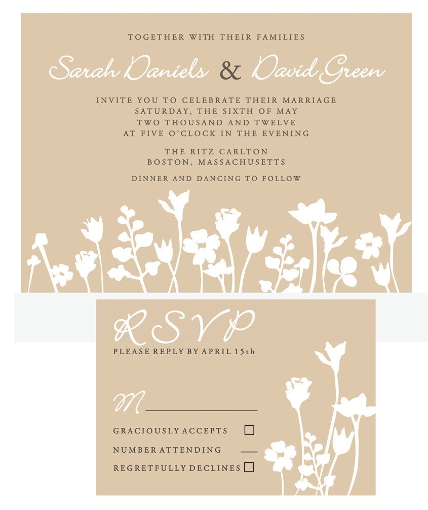 Rustic and Modern Floral Silhouette Wedding Invitation customizable
