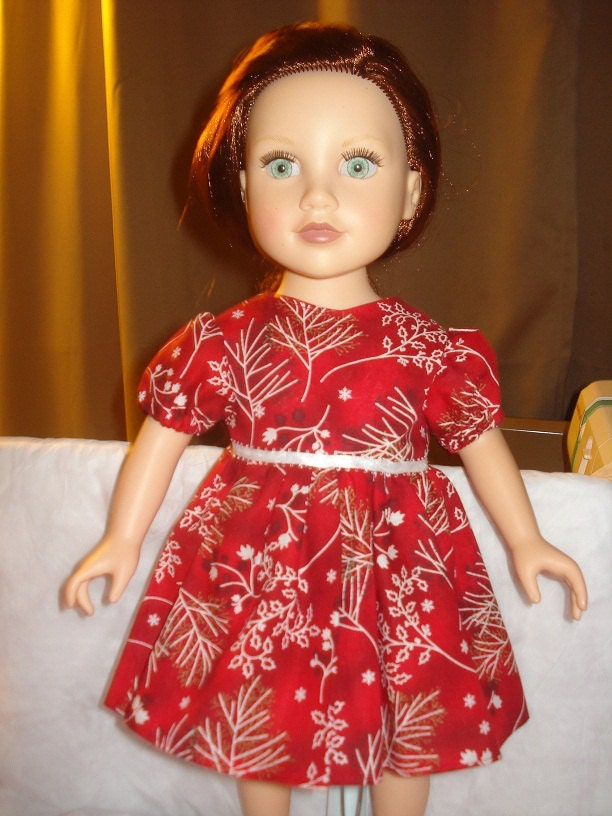 Holiday dress in red with white and black holly print for American Girl Dolls - ag112