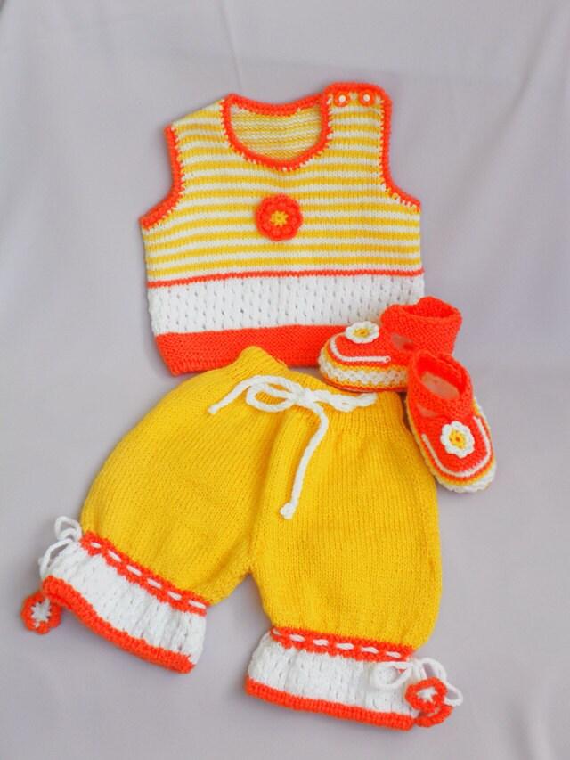 """تابستان فروش -- در حال حاضر تنها 50 دلار -- دست تابستان لباس بافتنی کودک """"روز آفتابی"""" در سه بخش"""