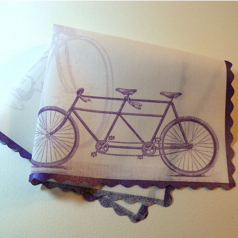 Tandem bicycle personalized wedding handkerchief From ArtfulBeginnings