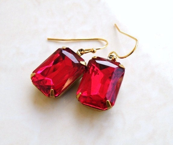Bridal Earrings Rich Garnet Maroon Red Foiled Octagon Stone Rhinestone Gold Dangle Earrings - Bella EGoldV1 Vintage Inspired Estate Style