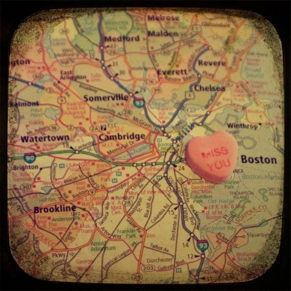 miss you boston candy heart map art 5x5 ttv photo print - free shipping - CAPow
