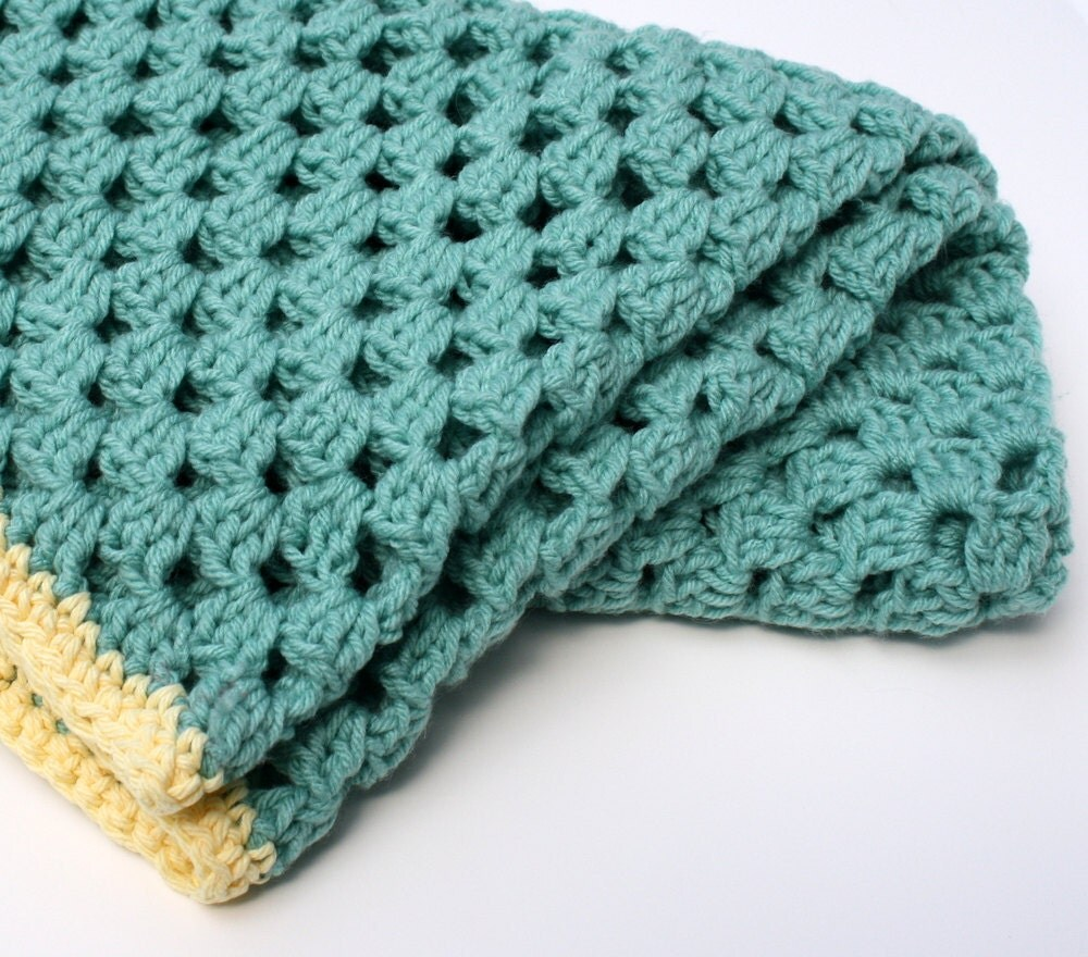 Teal Green and Butter Yellow Crocheted Blanket Afghan - Gillsie