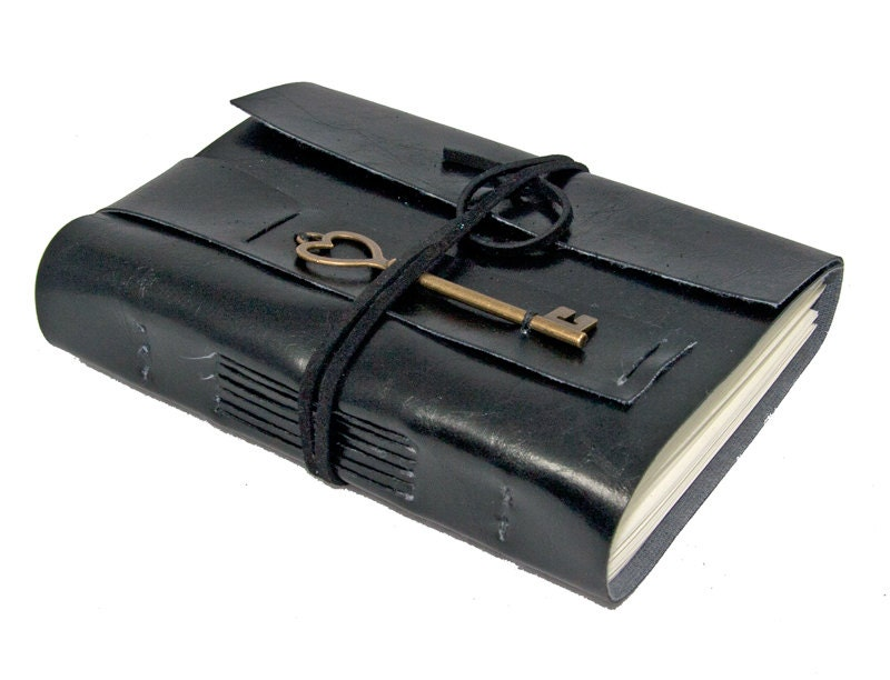 Black Vegan Faux Leather Journal with Heart Key Bookmark - boundbyhand