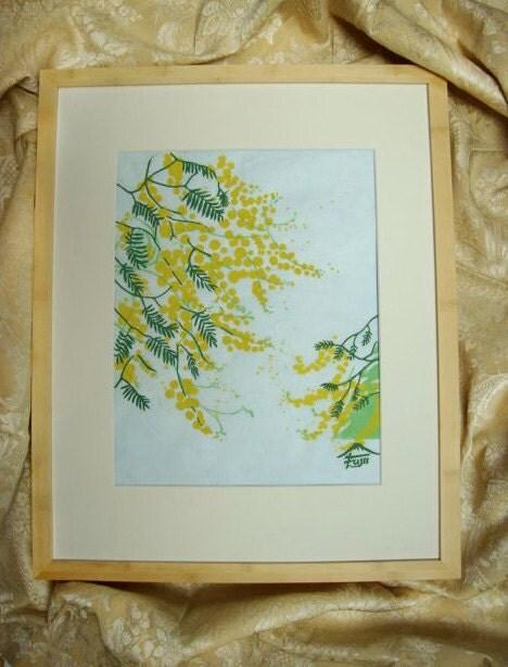 Mimosa Block Print  12 x 16 - chasingcloudsstudio