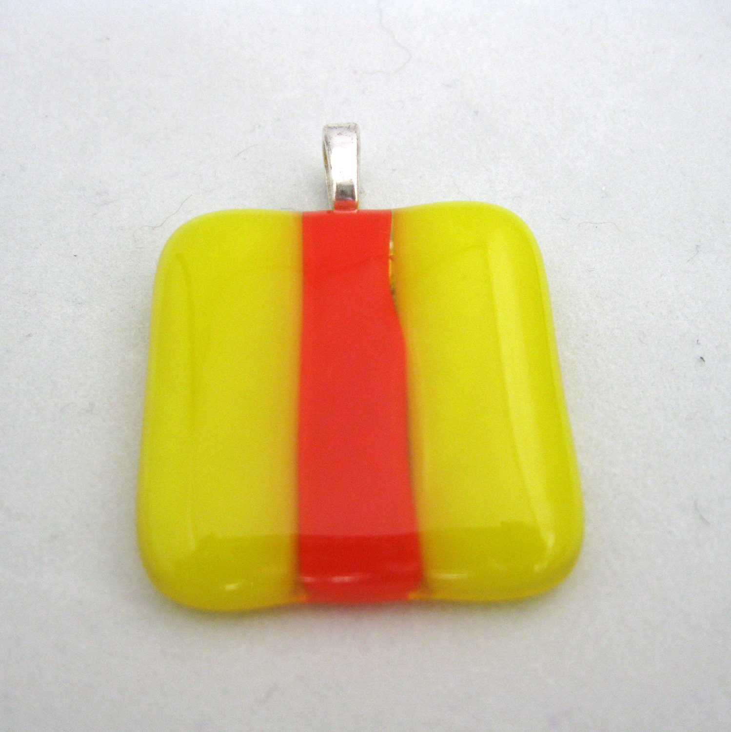 bright yellow red jewelry - Surfer, red and yellow, colorful, fused glass pendant, colorful necklace for summer - cjyummies