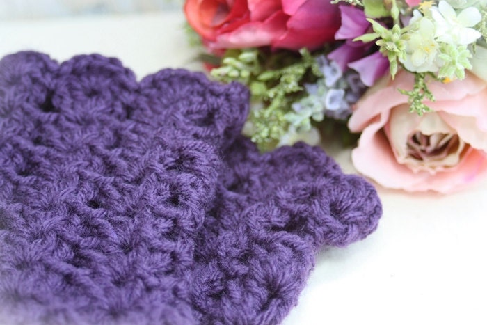 Deep Plum Beautiful Short Fingerless Gloves Purple Mitts Lacy Frilly Pretty Feminine Summer MADE TO ORDER - mytatteredwhimsies