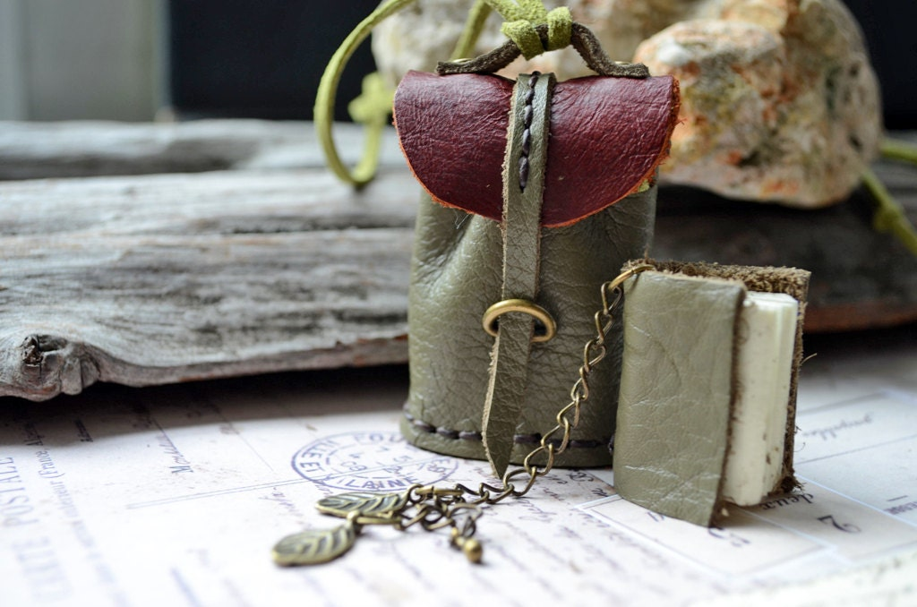 Necklace MiniatureBook in a little bag Red Brown & Olive Green leather. - fullmoonn