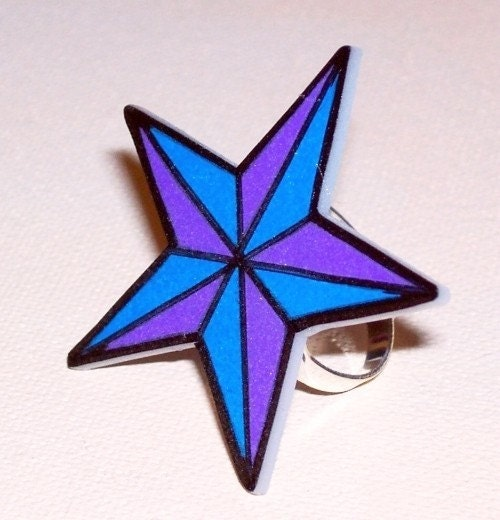 blue and purple nautical star ring From artallnight