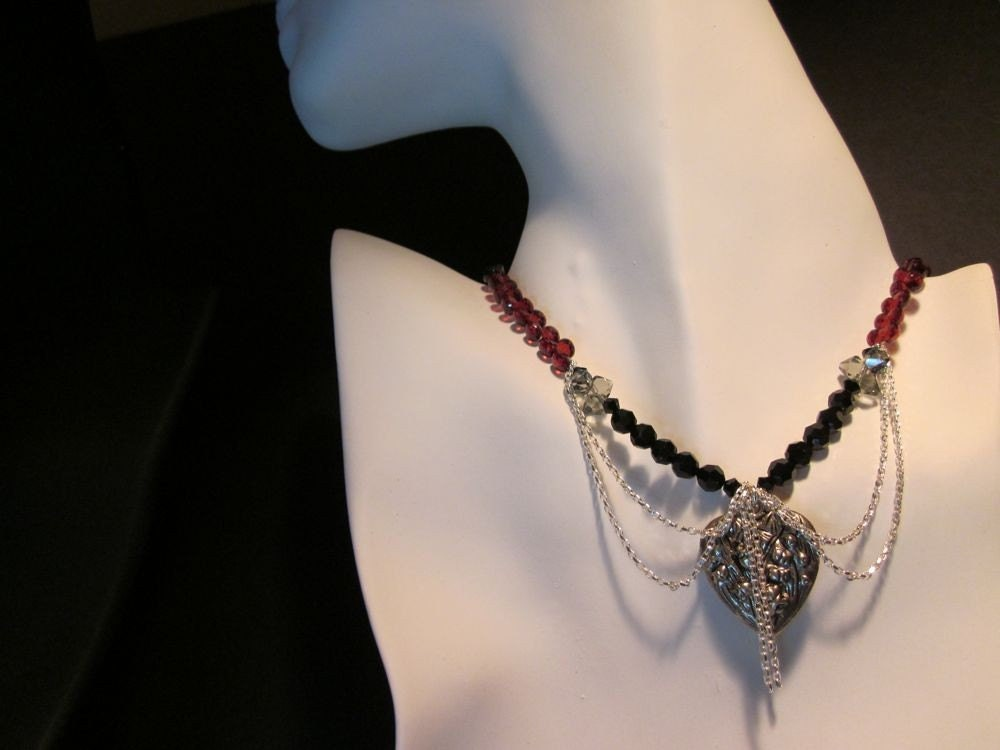 Bohemian Spirit-Pyrope Garnet Onions, Swarovski Crystals & Sterling Silver Necklace