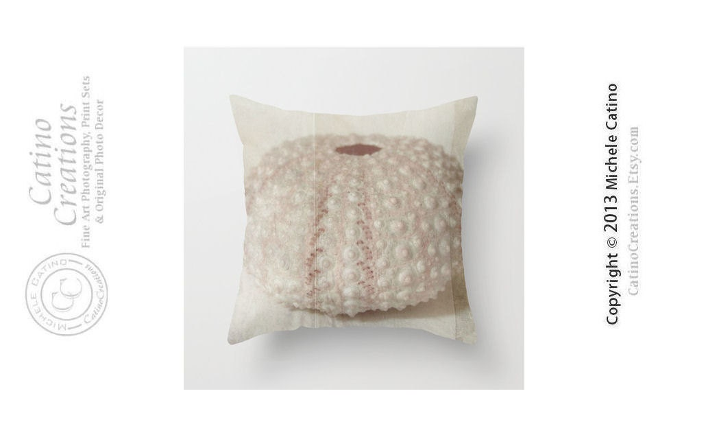Beige Urchin Pillow Cover Sea Urchin Beach House Summer Cottage Shell Photo Pillow Throw Pillow Cover 16x16