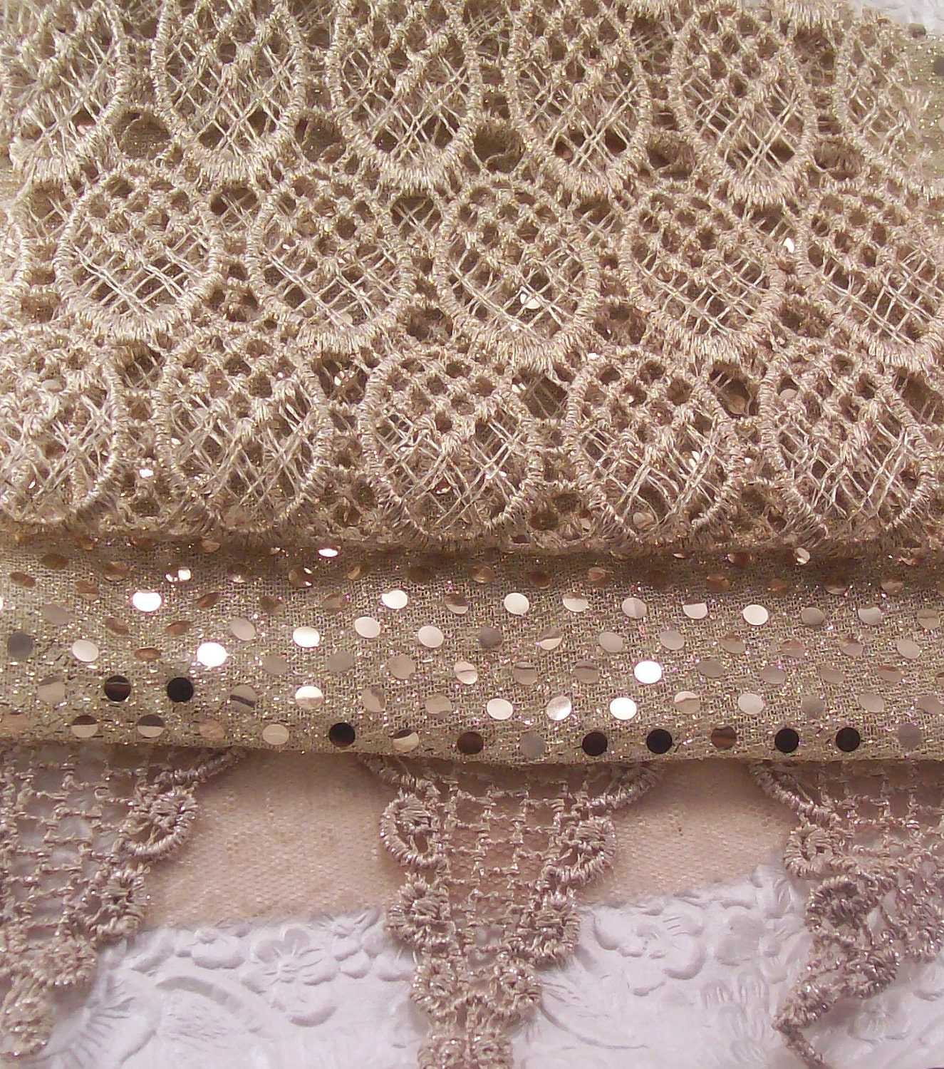 Glittering ivory - 3 embellished fabric pieces