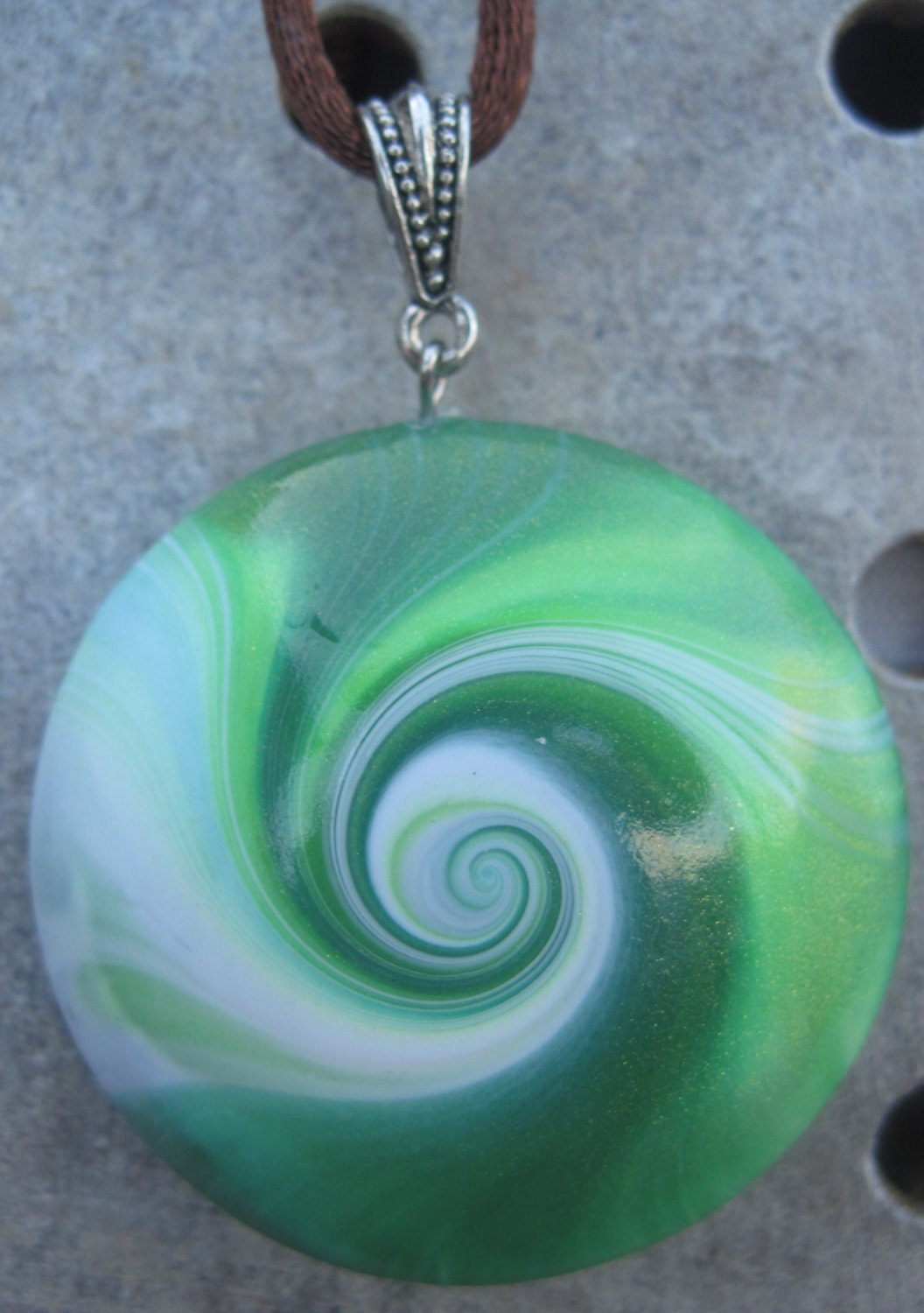 Gorgeous Green Swirled Polymer Clay Pendant