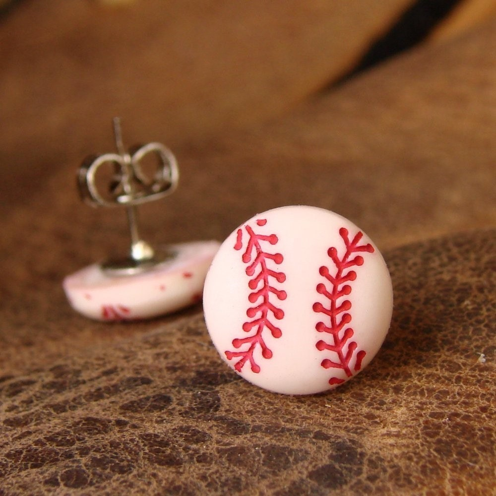 Miniature Baseball Stud Earrings - Ball Park Ear Gear - dirtroadsouth