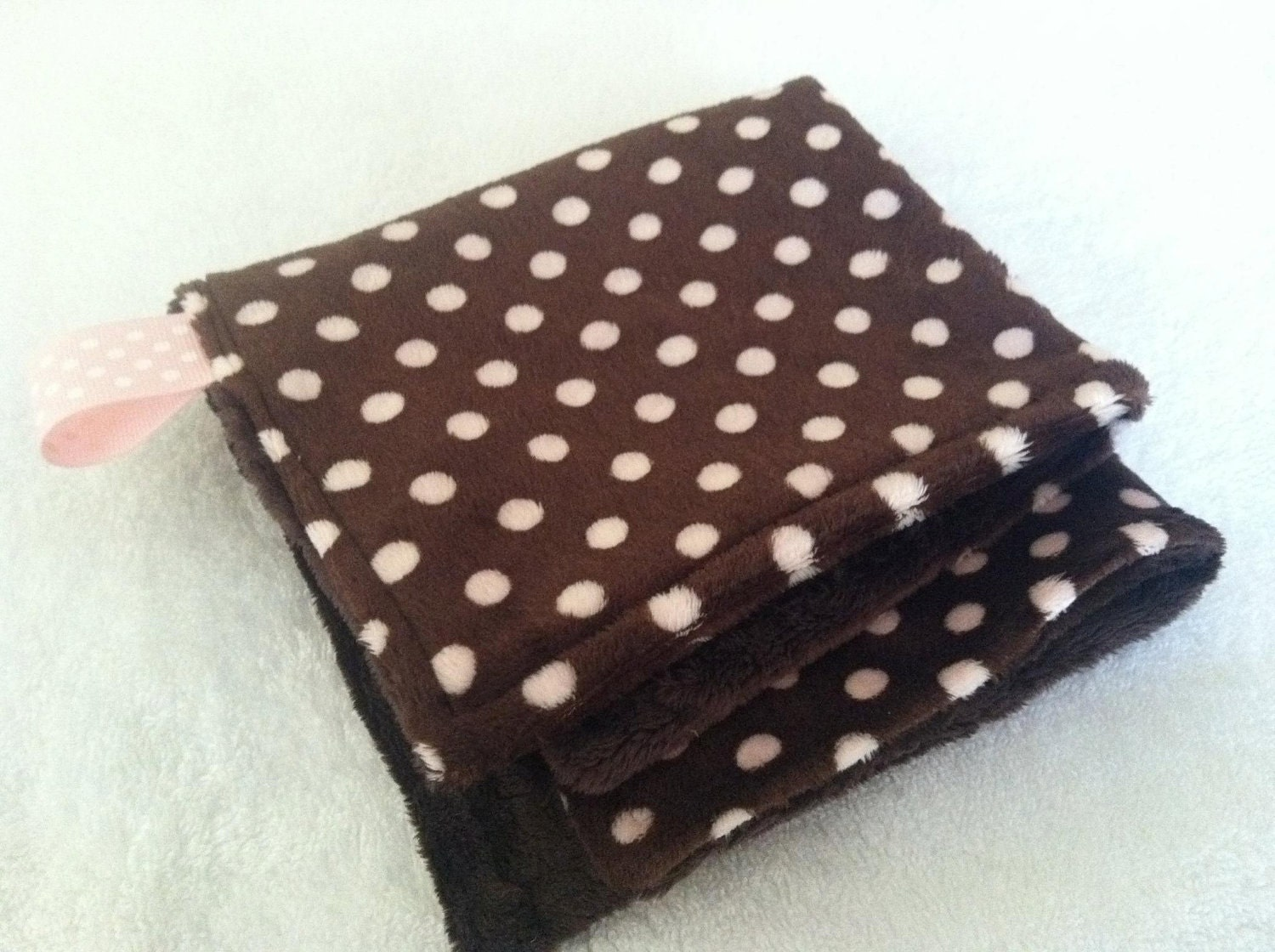 CLEARING STOCK SALE Pink and Brown Minky Dots Tiny Little Lovey Security Blanket Woobie ready to ship