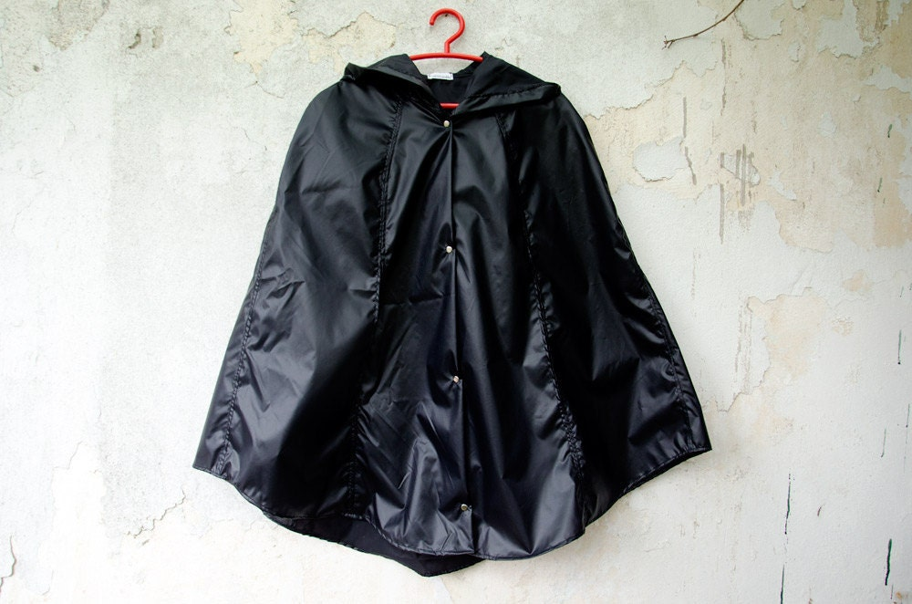 Black Raincoat Waterproof Cape Vintage Inspired - karmologyclinic