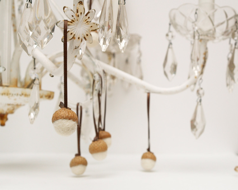 Christmas Acorn Ornaments, 10 wool handmade Felt snow white wedding Felted Home fall hanging Waldorf Colorful Woodland Thanksgiving