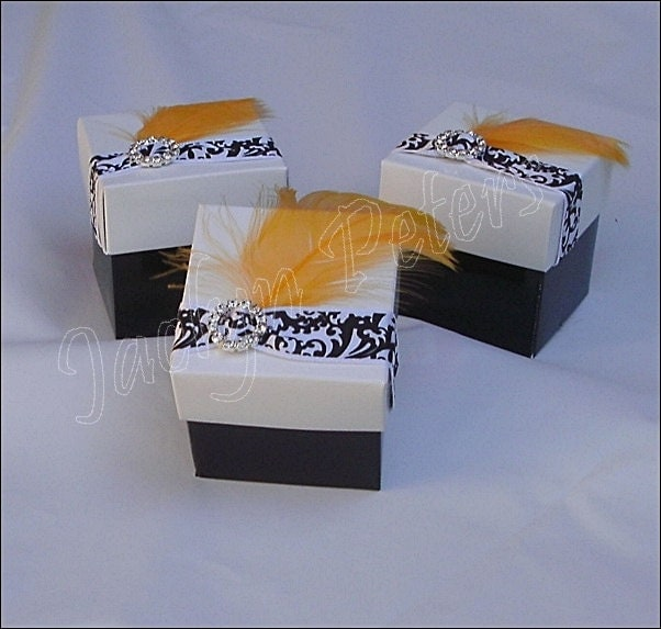 Feathers Damask Rhinestone Buckle Two Piece Shower Or Wedding Favor Box