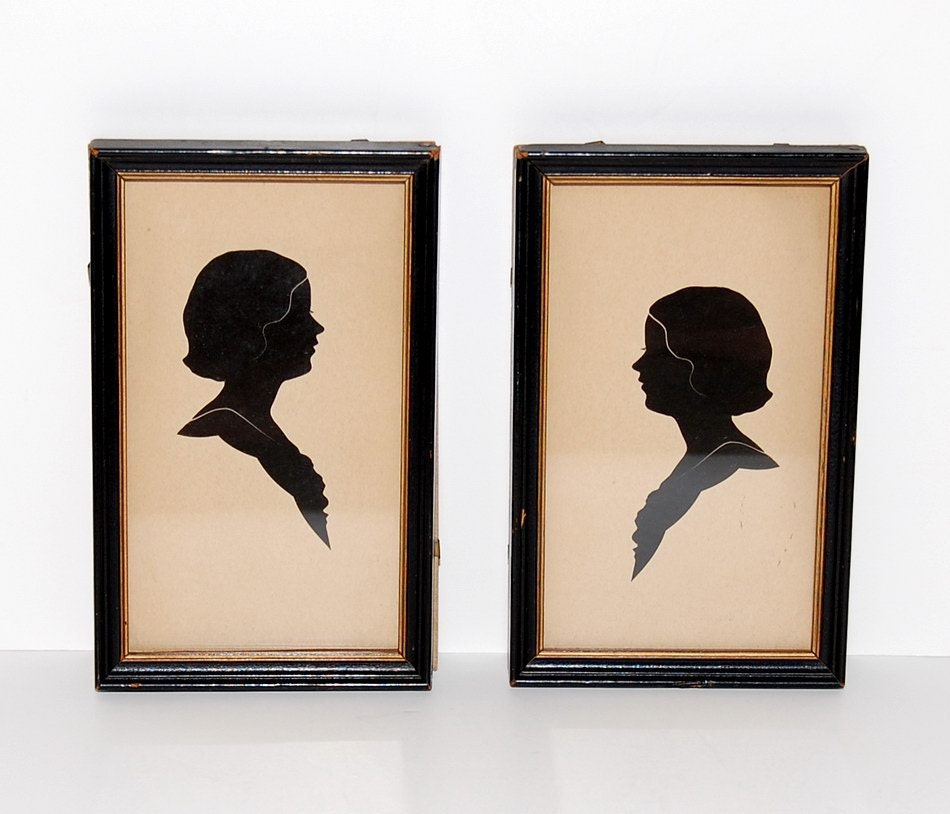 Art Deco Framed Silhouettes, Pair - Abundancy