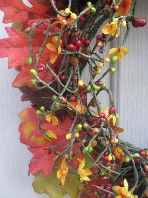 Падение Венок - Осенние листья и Берри венок II - Дверь Венок на осень Декор