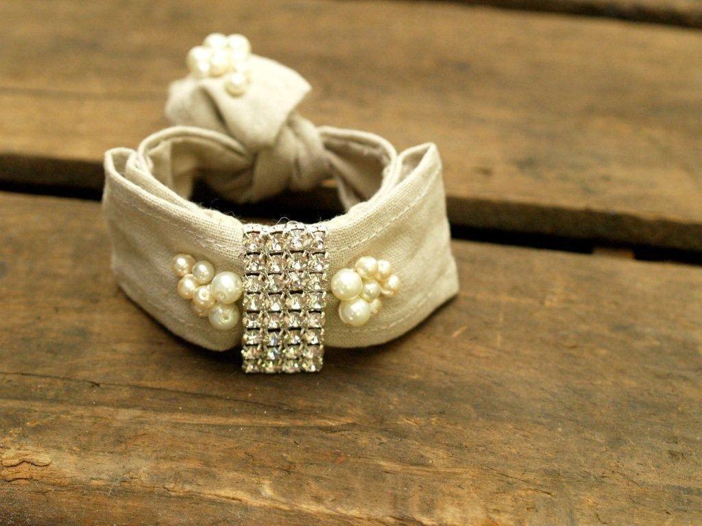 Linen Rhinestone & Pearl Bow Bracelet