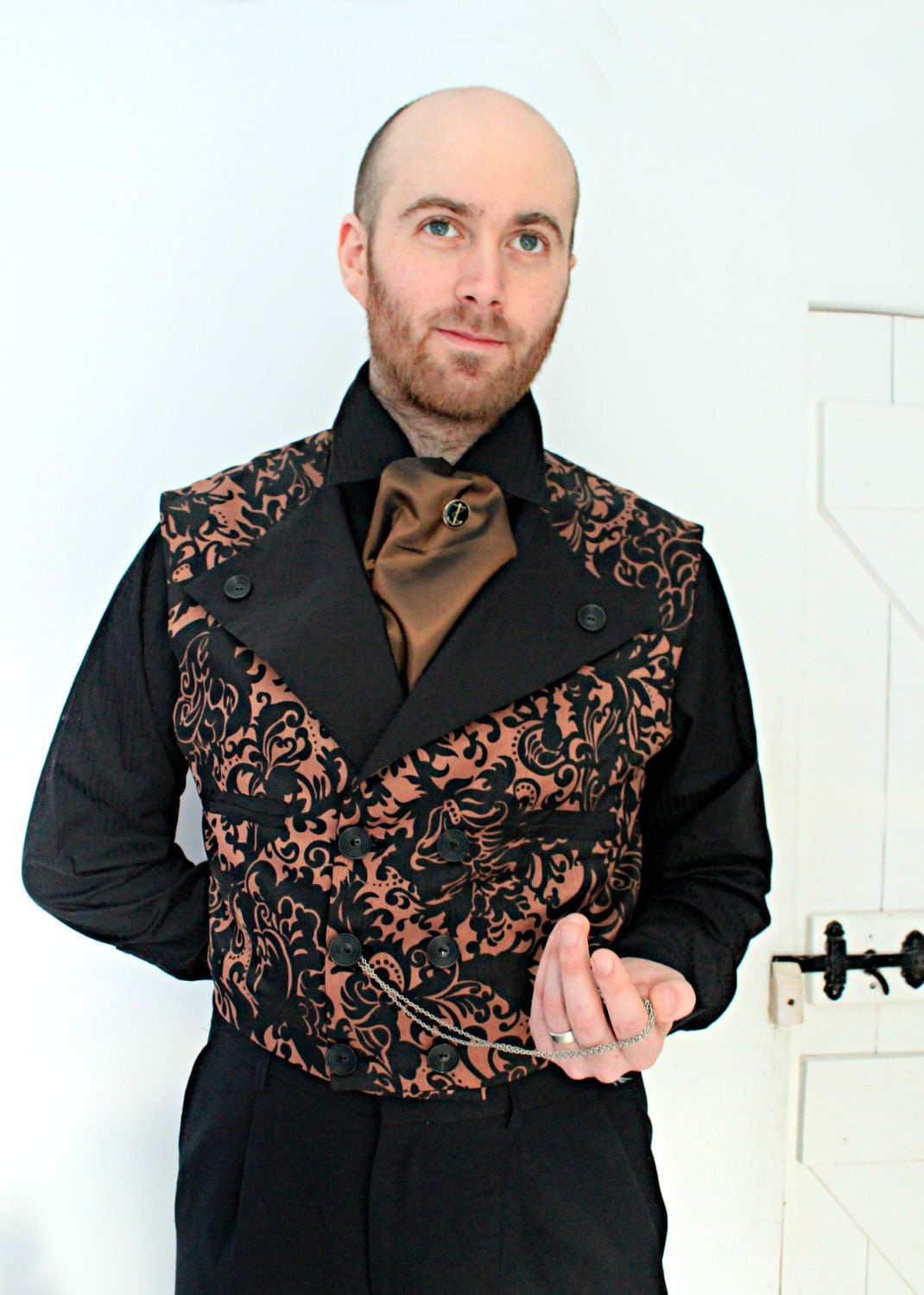 The Amberley - Steampunk Western Wedding Men's Double Breasted Waistcoat in Brown and Black - dreadnoughtdesigns