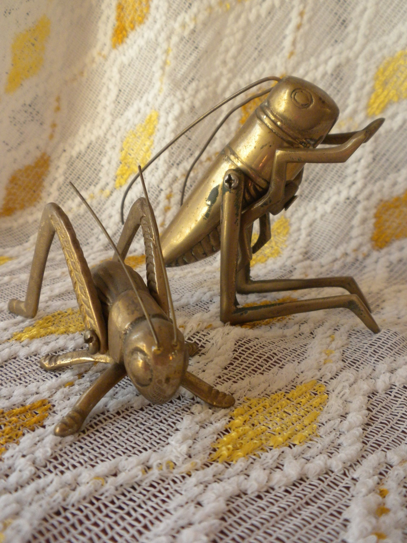 Vintage Brass Grasshoppers