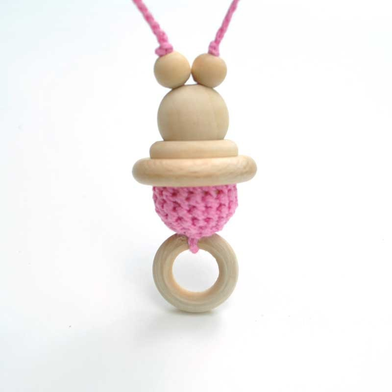 natural wooden Crochet necklace for mom/  teething  toy for baby - ring and pink bead- Teether toy bear. boys and girls. eco-friendly