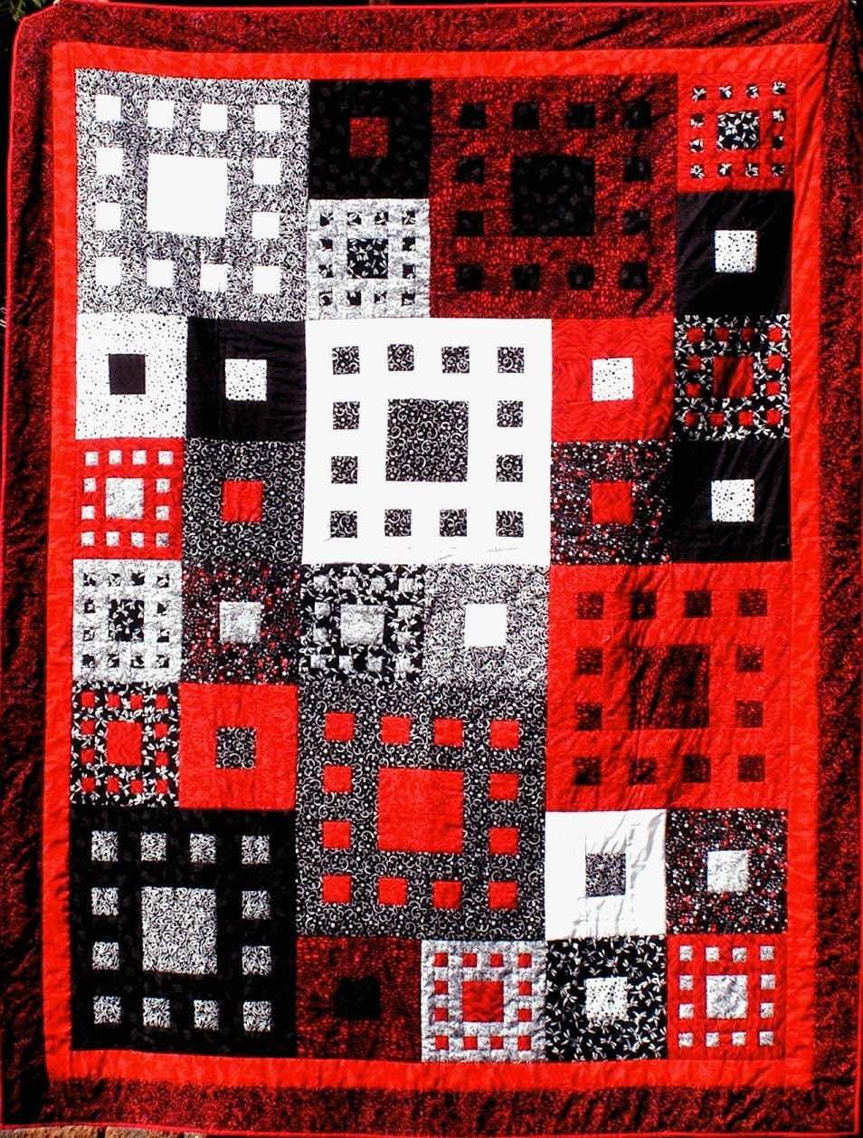 Quilt--Geometric Boxes in Black, White and Red
