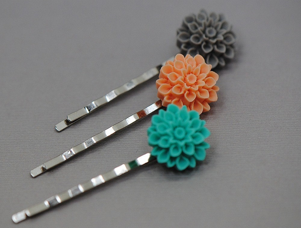Grey, Tangeringe and Turquiose Mum Bobby Pin Hair Set