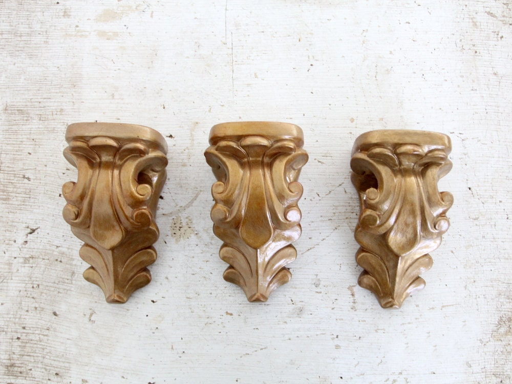 Vintage Wall Sconces / Curtain Rod Holders by 86home on Etsy