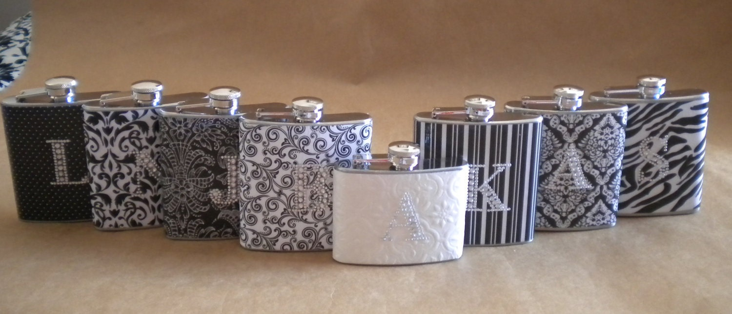 Wedding Flask Special 7 Bridesmaids Gift Flasks and 1 Bridal Flask All with Rhinestone Initials