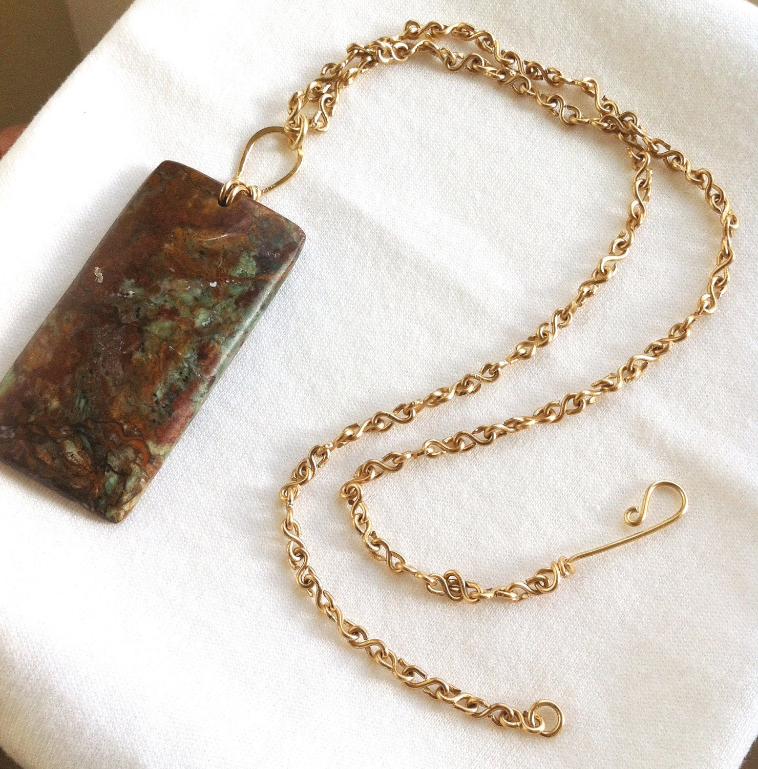 AFRIKAN GOLD - African Green Opal w/Handmade Brass Chain Necklace