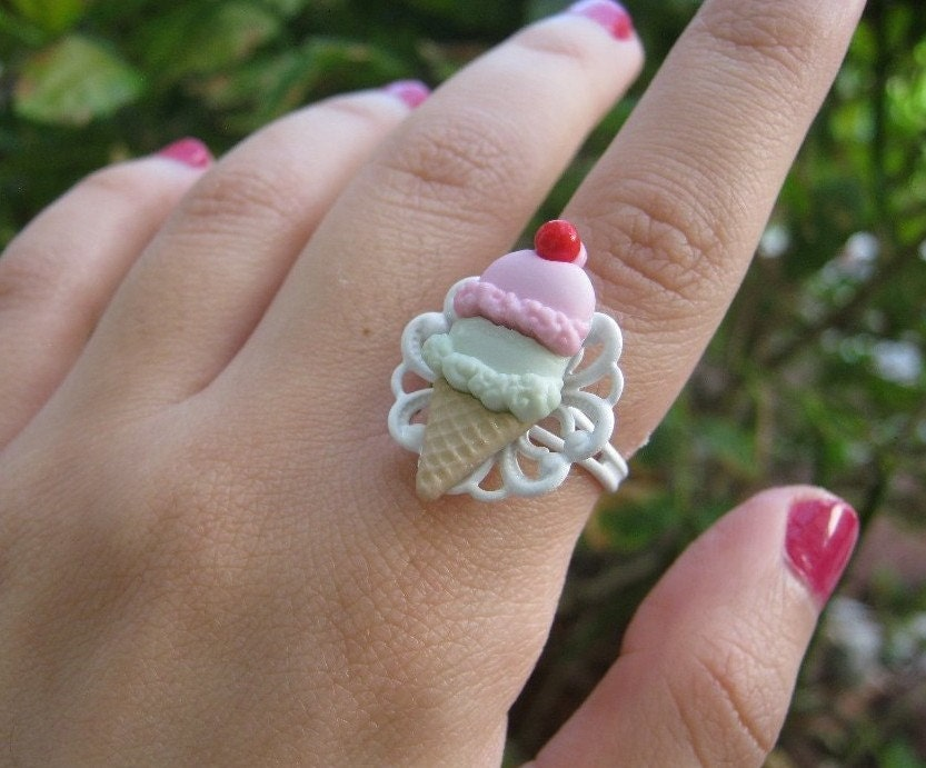 Ice Cream Shop Ring in White with Strawberry and by PinkFrog4U from etsy.com
