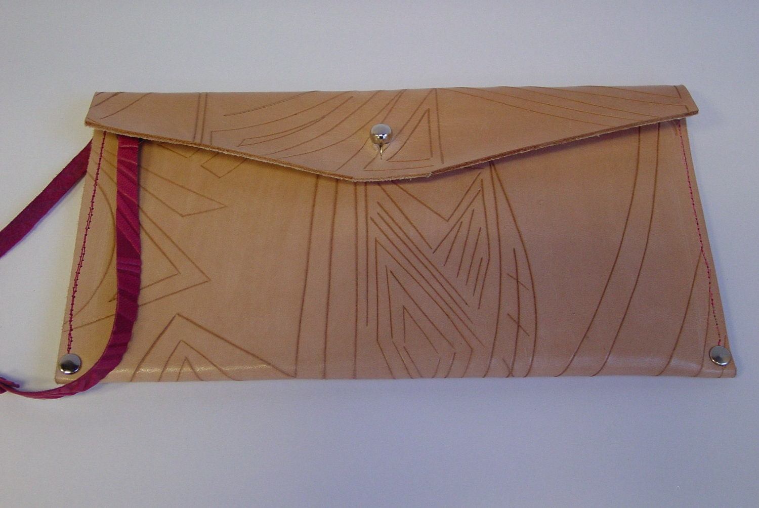 23 Tribes Custom made, one of a kind carved envelope leather passport case