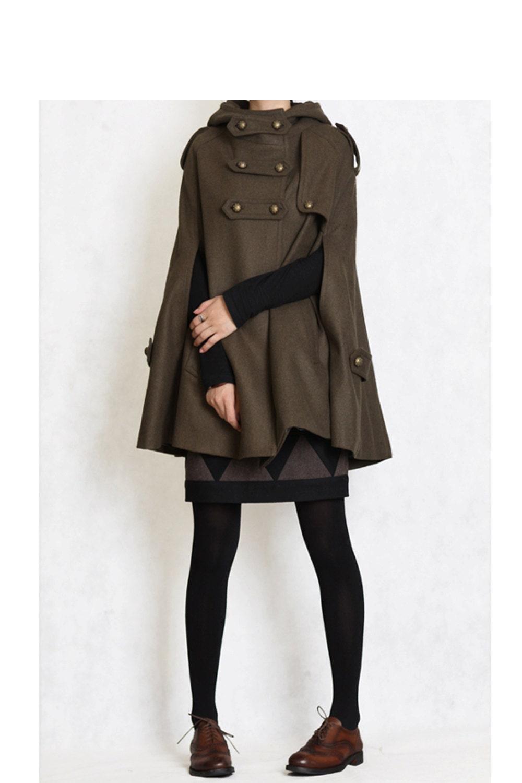 Winter Coat GREEN cape Hood hoodie coat Hooded Wool Cape Cashmere coat  double breasted button coat Hood cloak  women FM003B