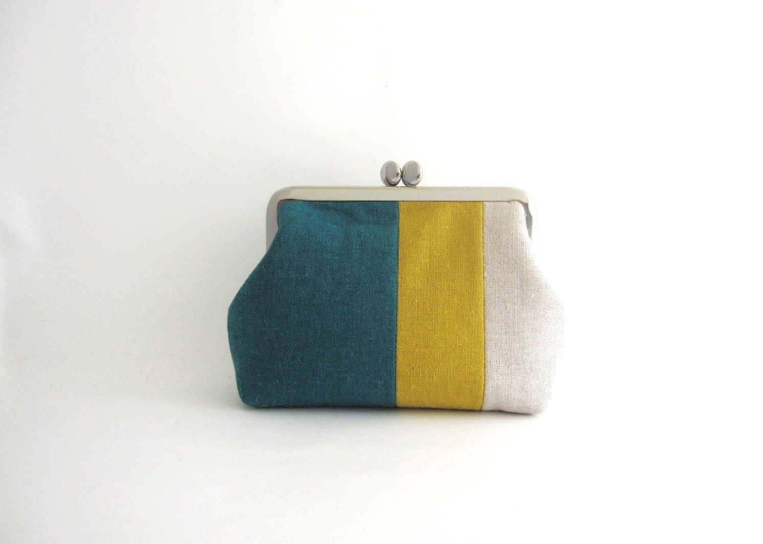 metal frame multi purpose pouch- linen stripe patchwork
