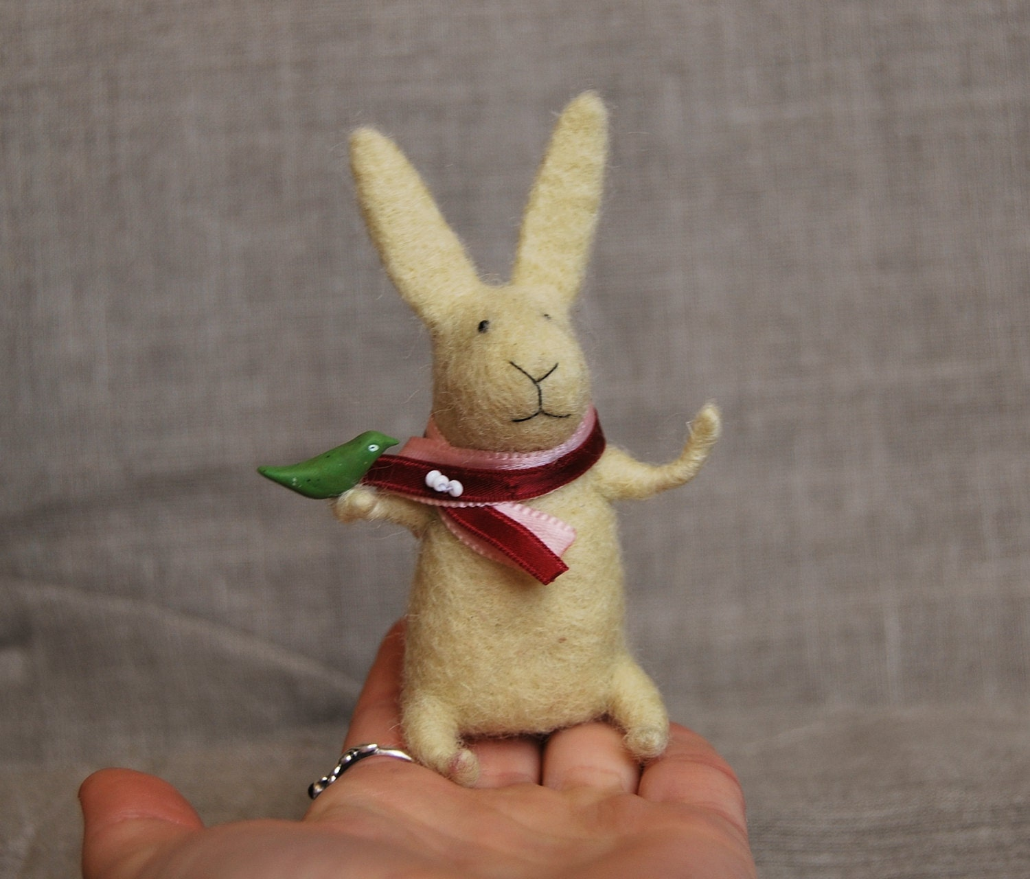 Easter Bunny, Needle Felted Bunny, Needle Felted Animal, Light Yellow Bunny, Felted Miniature, Felted Toy - healoom